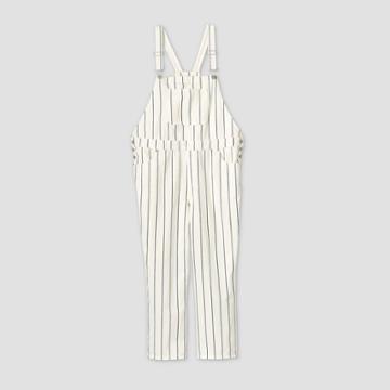 Women's Plus Size Striped High-rise Denim Overalls Straight Jeans - Universal Thread White