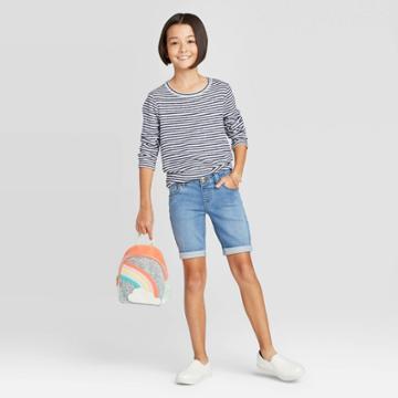 Girls' Knit Bermuda Jean Shorts - Cat & Jack Medium Wash Xs, Girl's,