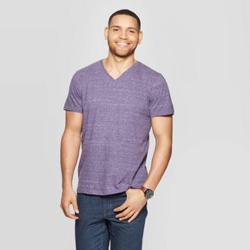 Men's Standard Fit Novelty V-neck T-shirt - Goodfellow & Co Blue Violet