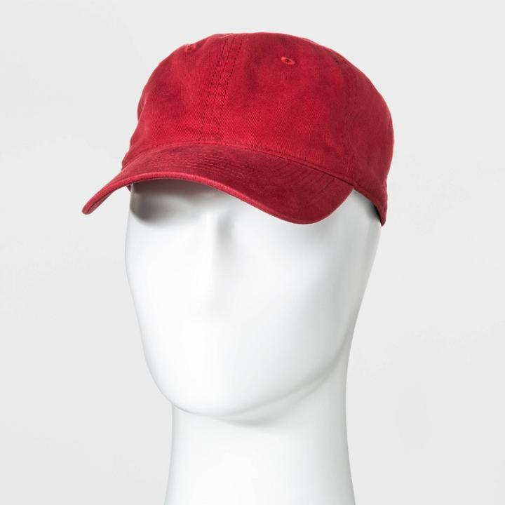 Men's Washed Baseball Hat - Goodfellow & Co Red One Size,