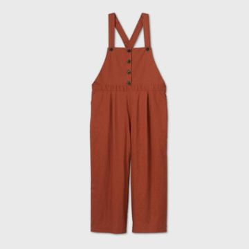 Women's Plus Size Crop Leg Jumpsuit - Ava & Viv Brown X, Women's