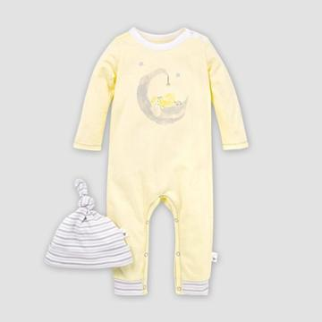 Burt's Bees Baby Baby Organic Cotton Lamb In The Moon Jumpsuit And Knot Top Hat - Yellow Newborn, Kids Unisex