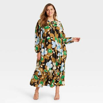 Women's Plus Size Balloon Long Sleeve Dress - Who What Wear Brown Floral