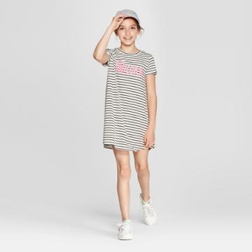 Grayson Social Girls' 'part Unicorn' Striped T-shirt Dress - Ivory/black