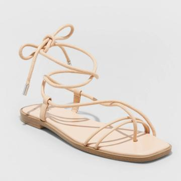 Women's Talia Lace-up Sandals - A New Day Tan