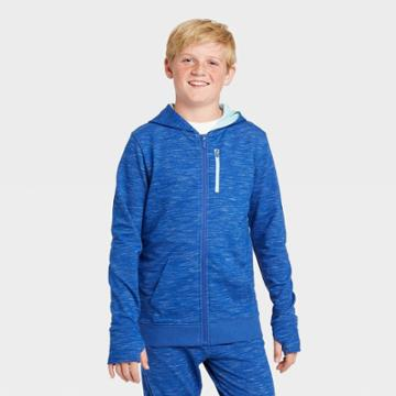 Boys' French Terry Full Zip Hoodie - All In Motion Blue Heather S, Boy's, Size: Small, Blue Grey
