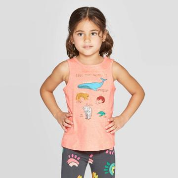 Toddler Girls' 'save The Animals' Graphic Tank Top - Cat & Jack Orange
