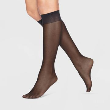L'eggs Women's Extended Size Everyday Knee High 8pk Pantyhose - Black