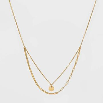 Sterling Silver Layered Chain Necklace - Universal Thread Gold