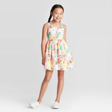 Girls' Button-front Floral Dress - Cat & Jack Pink