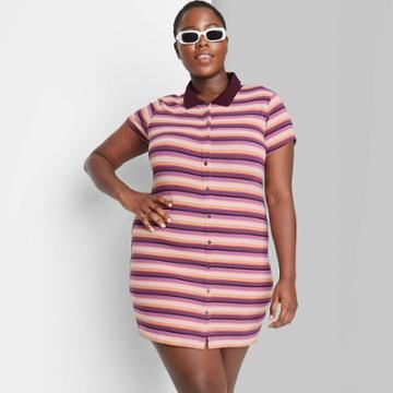 Women's Plus Size Short Sleeve Bodycon Polo Dress - Wild Fable Burgundy Striped 1x, Red