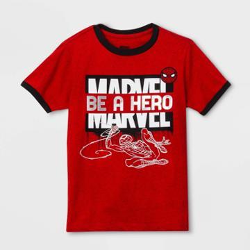 Petiteboys' Short Sleeve Marvel Avengers 'be A Hero' Logo Break T-shirt - Red
