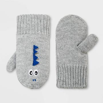 Toddler Boys' Dino Mitten - Cat & Jack Heather Gray 2t-5t, Gray/grey