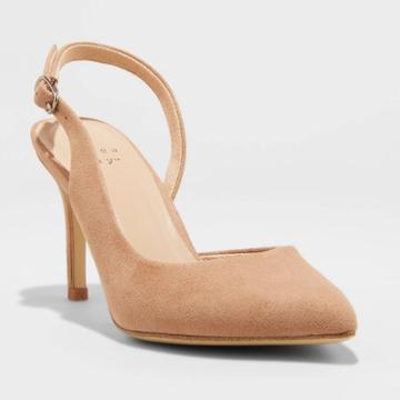 Women's Alma Slingback Heel Pumps - A New Day Tan