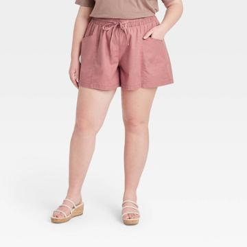Women's Plus Size Pull-on Shorts - Ava & Viv Rose X, Pink