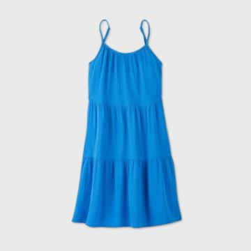Women's Tiered Tank Dress - Universal Thread Blue