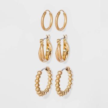Bead And Twister Hoop Earrings - Universal Thread Gold