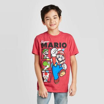 Super Mario Petiteboys' Mario Short Sleeve T-shirt - Red