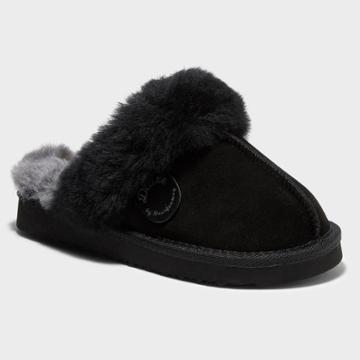 Kids' Dluxe By Dearfoams Whistler Genuine Shearling Scuff Slippers - Black