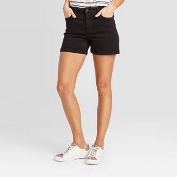 Women's High-rise Slim Fit Jean Shorts - Universal Thread Black