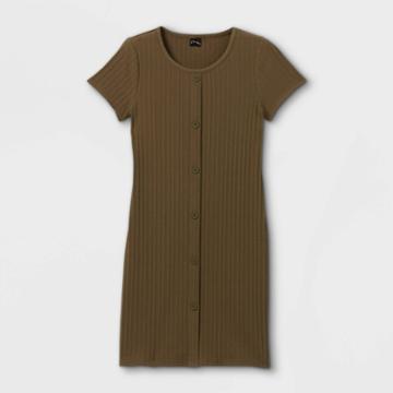 Girls' Button-front Short Sleeve Ribbed Dress - Art Class Green