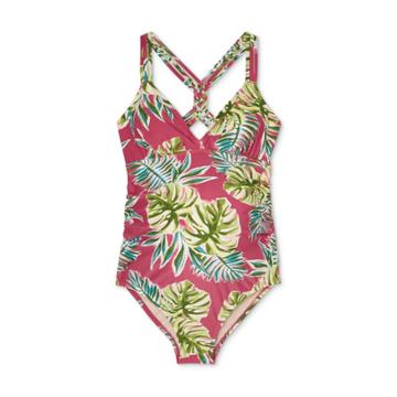 Maternity Braid Back Strap One Piece Swimsuit - Isabel Maternity By Ingrid & Isabel S D/dd Cup, Green/pink