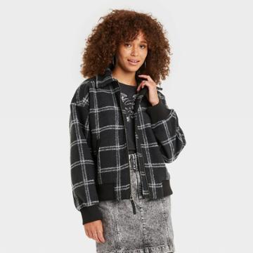 Women's Plaid Knit Bomber Jacket - Universal Thread Hematite