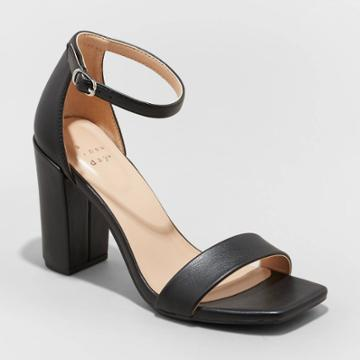 Women's Ema Square Toe Heels - A New Day Black