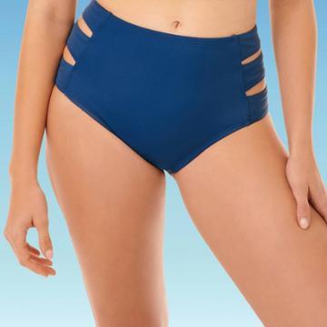 Women's Slimming Control Side Cut Out Bikini Bottom - Beach Betty By Miracle Brands Navy Blue S, Women's,