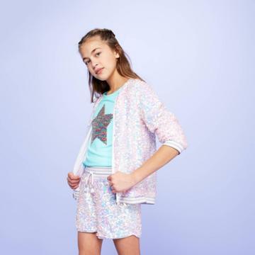 Girls' Sequin Shorts - More Than Magic White M, Girl's,