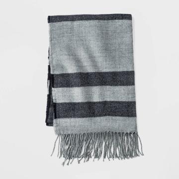 Men's Striped Scraf - Goodfellow & Co Gray/blue One Size,