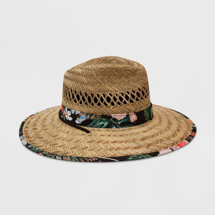 Men's Mtv Floral Print Lifeguard Straw Fedora Hat - Natural One Size,