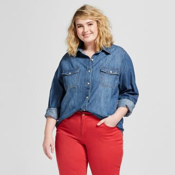 Women's Plus Size Labette Denim Long Sleeve Button-down Shirt - Universal Thread Dark Wash X, Blue