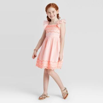 Girls' Embroidered Dress - Cat & Jack Powder Pink M, Girl's,