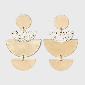 Layered Half Moon With Speckled Detail Drop Earrings - Universal Thread Ivory
