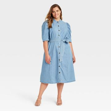 Women's Plus Size Puff Elbow Sleeve Shirtdress - Who What Wear Blue