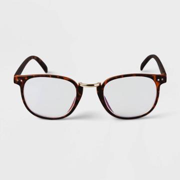Men's Tortoise Print Round Metal Nose Bridge Blue Light Filtering Glasses - Goodfellow & Co Brown