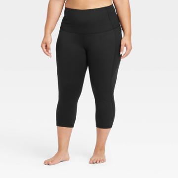 Women's Plus Size Contour Power Waist High-rise Capri Leggings With Pocket 20 - All In Motion Black 1x, Women's,