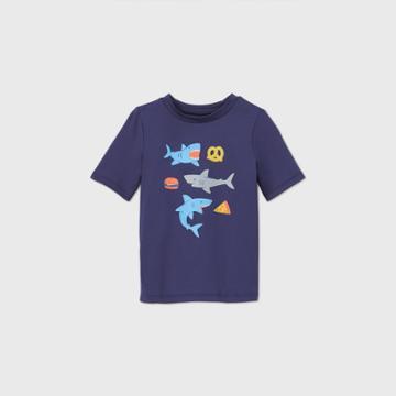 Toddler Boys' Shark Print Short Sleeve Rash Guard Swim Shirt - Cat & Jack Navy