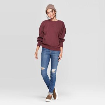 Women's Cuffed High-rise Distressed Skinny Jeans - Universal Thread Medium Blue 0