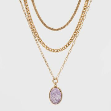 Semi-precious Lepedolite Layered Necklace - Universal Thread