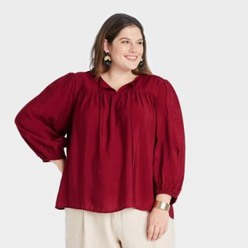 Women's Plus Size Long Sleeve Blouse - A New Day Dark Red