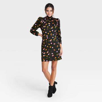 Women's Polka Dot Puff Long Sleeve A-line Dress - Who What Wear Black