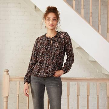 Women's Printed Long Sleeve Top - Knox Rose Black