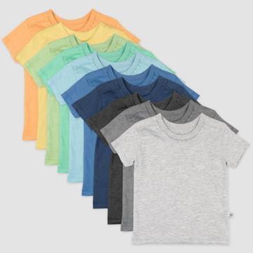 Honest Baby Boys' 10pk Rainbow Organic Cotton Short Sleeve T-shirt