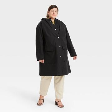 Women's Plus Size Rain Coat - A New Day Black