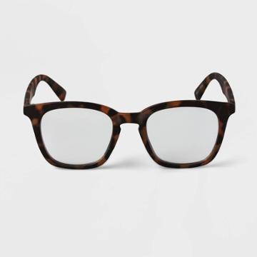 Men's Tortoise Print Square Blue Light Filtering Reading Glasses - Goodfellow & Co Brown