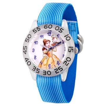 Girls' Disney Princess Belle And Mrs. Potts Clear Plastic Time Teacher Watch - Blue