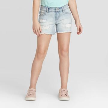Girls' Crochet Destructed Jean Shorts - Cat & Jack Light Wash Xs, Girl's, Blue