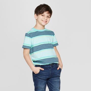 Boys' Striped Short Sleeve T-shirt - Cat & Jack Green/blue/yellow